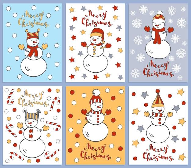 Conjunto de vetores de seis cartões de natal de inverno com bonecos de neve fofos e engraçados dos desenhos animados