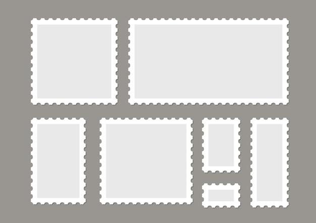 Conjunto de vetores de selos postais em branco isolado. marque o design de selos de carta de correio. etiqueta da moldura postal.