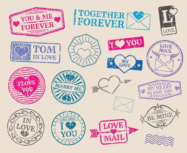 Conjunto de vetores de selos postais vintage. data romântica, amor, dia dos namorados. recolha de selo com texto