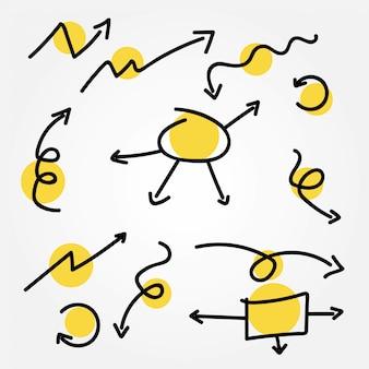 Conjunto de vetores de seta doodle