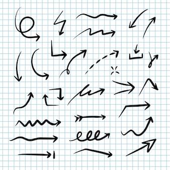 Conjunto de vetores de setas desenhadas à mão