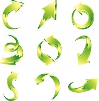 Conjunto de vetores de setas verdes