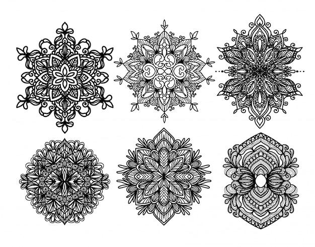 Conjunto de vetores de silhuetas de moldura barroca