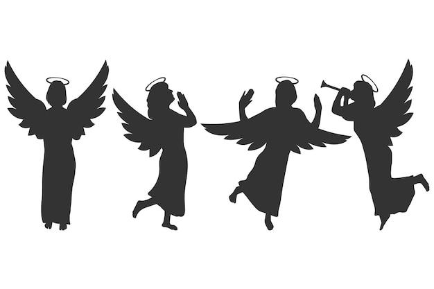 Conjunto de vetores de silhuetas negras de anjos e cupidos isolado em um fundo branco.