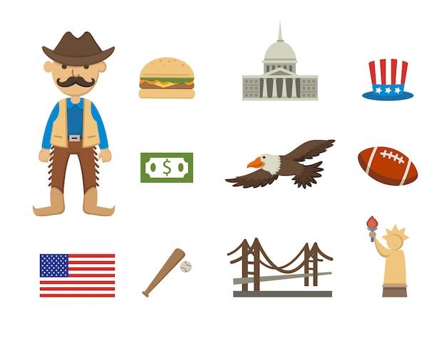 Conjunto de vetores de símbolo de américa