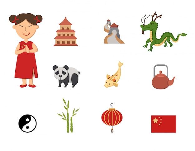 Conjunto de vetores de símbolo de china