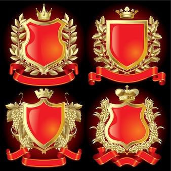 Conjunto de vetores de símbolos heráldicos de ouro