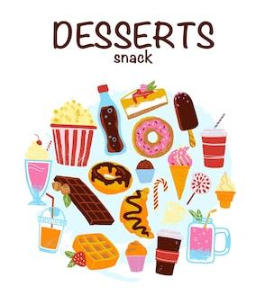 Conjunto de vetores de sobremesas e bebidas desenhadas à mão em estilo de desenho, bom para design de menu, publicidade web
