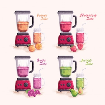 Conjunto de vetores de suco de fruta com liquidificador e jarra mason mug glass