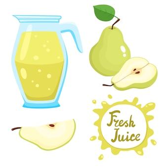 Conjunto de vetores de suco de pêra e peras isoladas em branco, frutas e sucos orgânicos