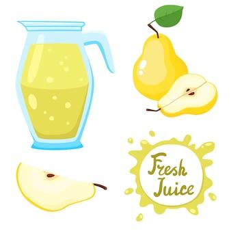 Conjunto de vetores de suco natural de pêra fresco em frasco e peras isoladas em branco no estilo cartoon. bebida de fruta orgânica saudável.