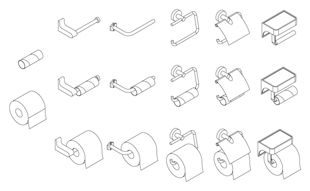 Conjunto de vetores de suporte de rolo de papel higiênico isométrico vazio e cheio