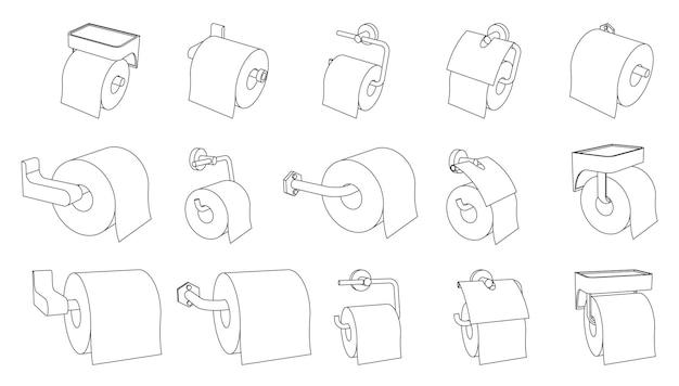 Conjunto de vetores de suporte para rolo de papel higiênico vazio e cheio em fundo branco