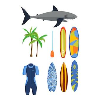 Conjunto de vetores de surf.