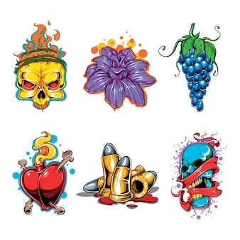 Conjunto de vetores de tatuagem