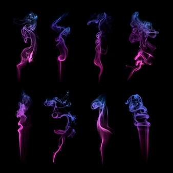 Conjunto de vetores de textura de fumaça roxa