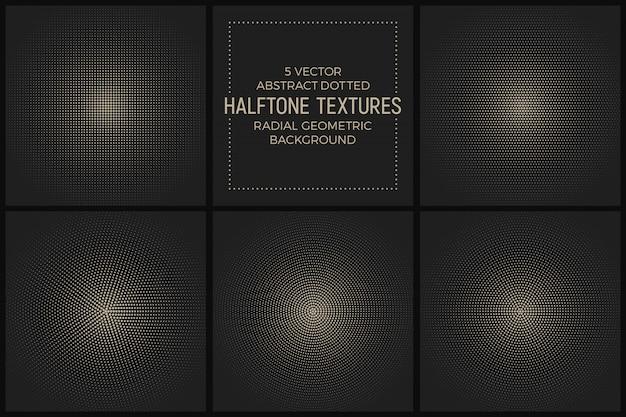 Conjunto de vetores de texturas de meio-tom radial pontilhada