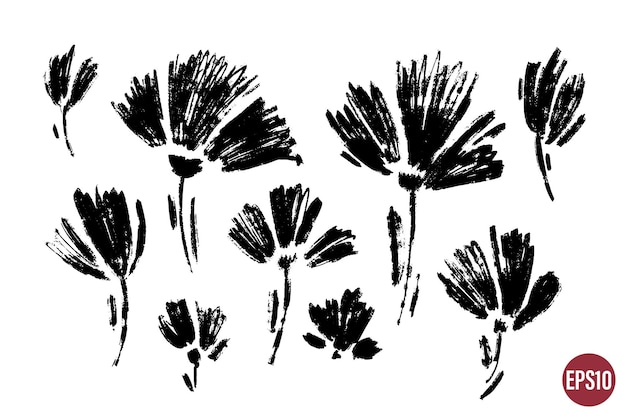 Conjunto de vetores de tinta desenhando plantas selvagens