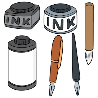 Conjunto de vetores de tinta, pincel e caneta-tinteiro