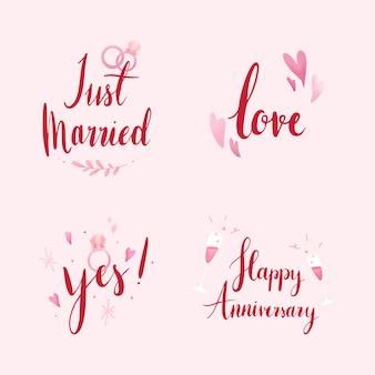 Conjunto de vetores de tipografia de casamento e amor