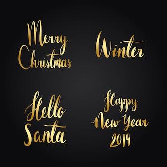 Conjunto de vetores de tipografia de férias de natal