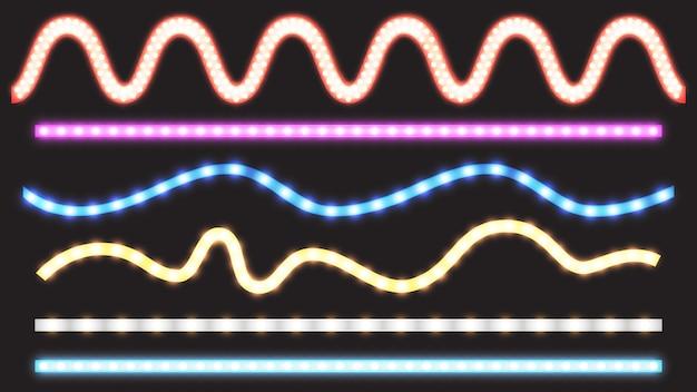 Conjunto de vetores de tiras de led com efeito de luz neon