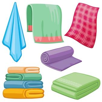 Conjunto de vetores de toalhas de desenhos animados
