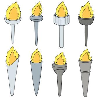 Conjunto de vetores de tocha de fogo