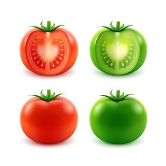 Conjunto de vetores de tomates inteiros grandes vermelhos maduros, verdes, cortados em branco