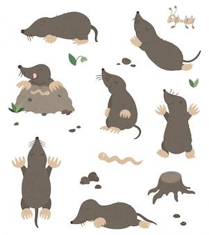 Conjunto de vetores de toupeiras planas engraçadas de estilo cartoon em diferentes poses com formiga, verme, folhas, pedras clip-art. ilustração fofa de animais da floresta