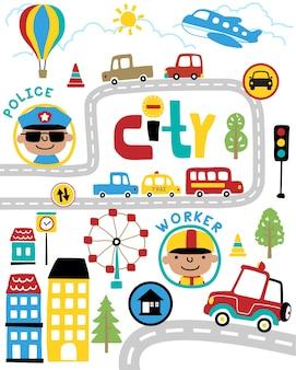 Conjunto de vetores de transporte e cidade dos desenhos animados