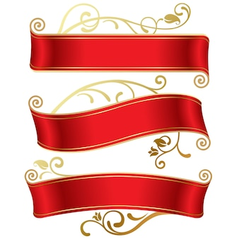 Conjunto de vetores de três banners vermelhos