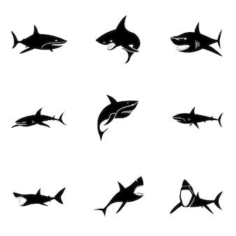 Conjunto de vetores de tubarão. ilustração em forma de tubarão simples, elementos editáveis e podem ser usados no design de logotipo Vetor Premium