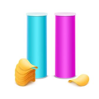 Conjunto de vetores de tubo de recipiente de caixa de lata rosa claro azul para design de embalagem