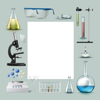 Conjunto de vetores de tubos de ensaio de equipamentos de laboratório químico, frascos com líquido colorido, copos, placa de petri, queimador de álcool, microscópio óptico, funil, equilíbrio e lugar para texto isolado no fundo