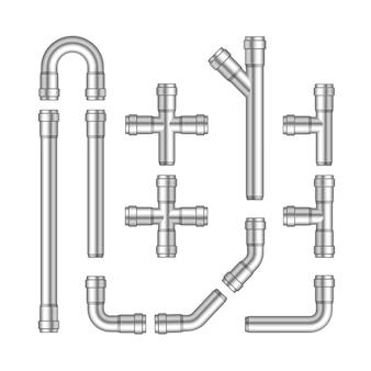 Conjunto de vetores de tubos de metal isolado no fundo branco