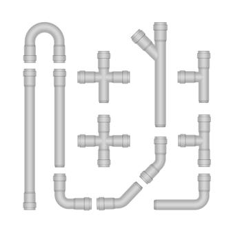 Conjunto de vetores de tubos de plástico isolado no branco