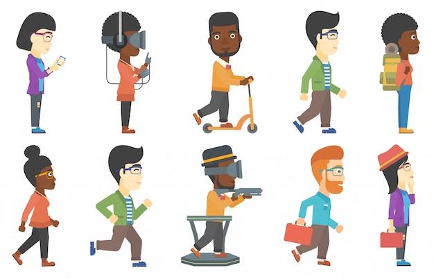 Conjunto de vetores de turistas e personagens de negócios.