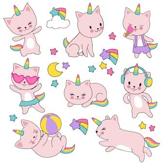 Conjunto de vetores de unicórnios bonitos gato branco catroon