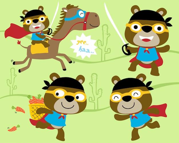 Conjunto de vetores de ursinho dos desenhos animados com fantasia de herói