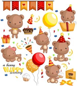 Conjunto de vetores de urso de aniversário
