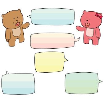 Conjunto de vetores de urso falando