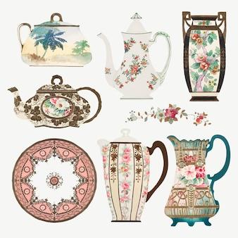 Conjunto de vetores de utensílios de mesa com padrão floral vintage, remixado do design de porcelana chinesa de fábrica de noritake