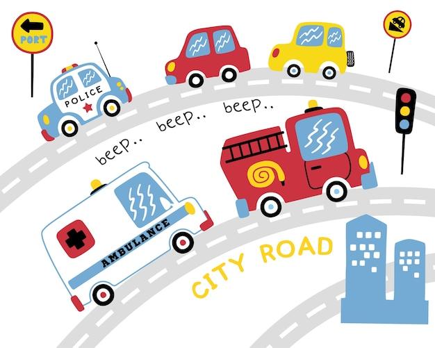 Conjunto de vetores de vários desenhos animados de veículos na estrada