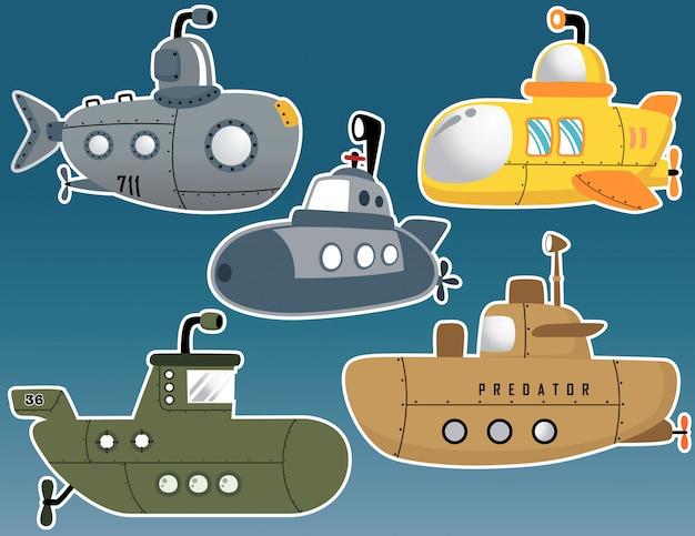 Conjunto de vetores de vários desenhos animados submarino
