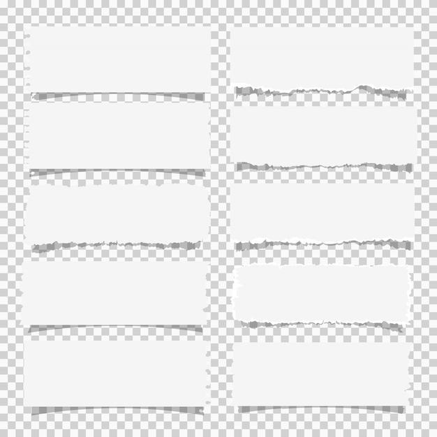 Conjunto de vetores de vários papéis de nota branco, elementos de design