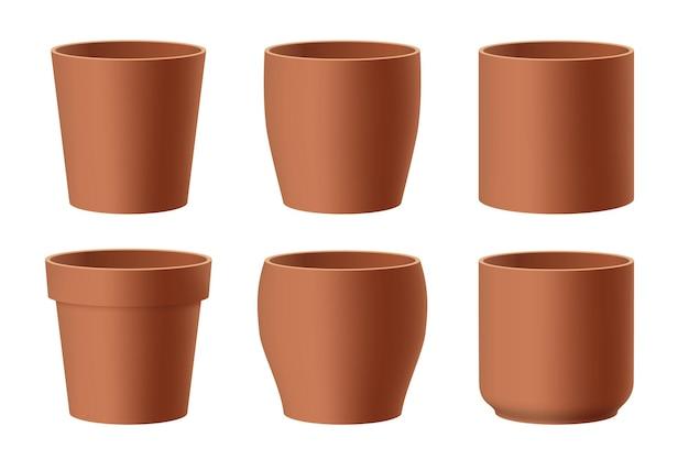 Conjunto de vetores de vasos de flores de cerâmica marrom realistas, isolado no fundo branco. potes de diferentes formatos. ilustração 3d