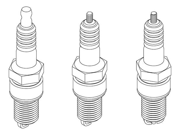 Conjunto de vetores de velas de ignição diferentes para carros