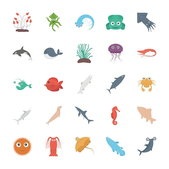 Conjunto de vetores de vida marinha