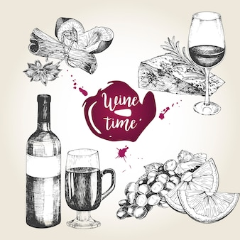 Conjunto de vetores de vinho e aperitivos.